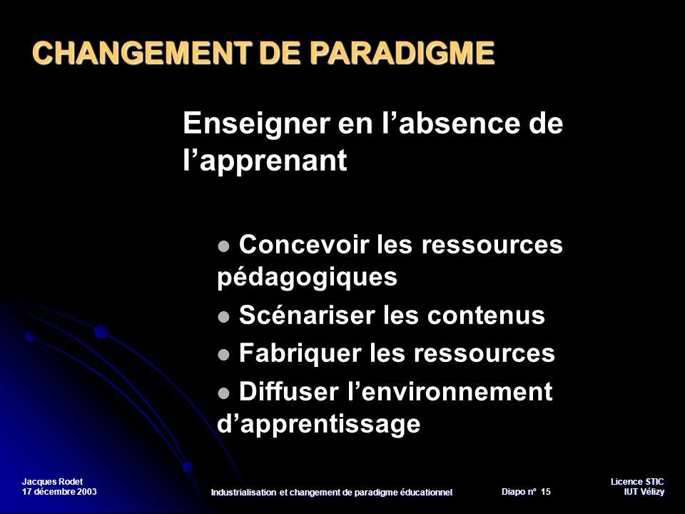 Licence STIC Diapo n°Vélizy Diapo n° 15 IUT Vélizy Jacques Rodet 17 décembre 2003 Industrialisation et changement de paradigme éducationnel Enseigner