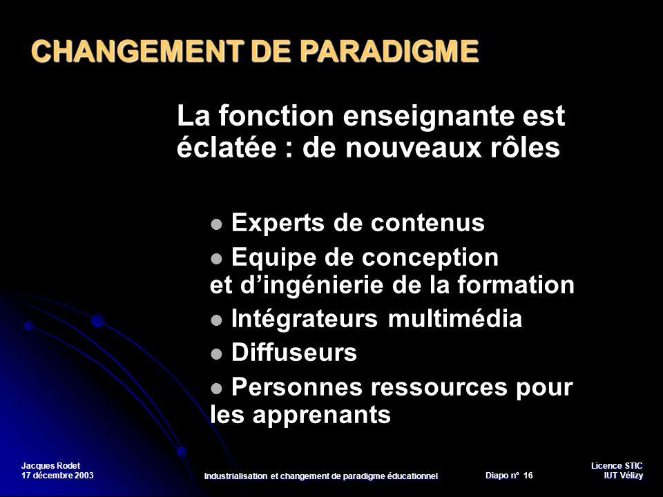 Licence STIC Diapo n°Vélizy Diapo n° 16 IUT Vélizy Jacques Rodet 17 décembre 2003 Industrialisation et changement de paradigme éducationnel La fonctio