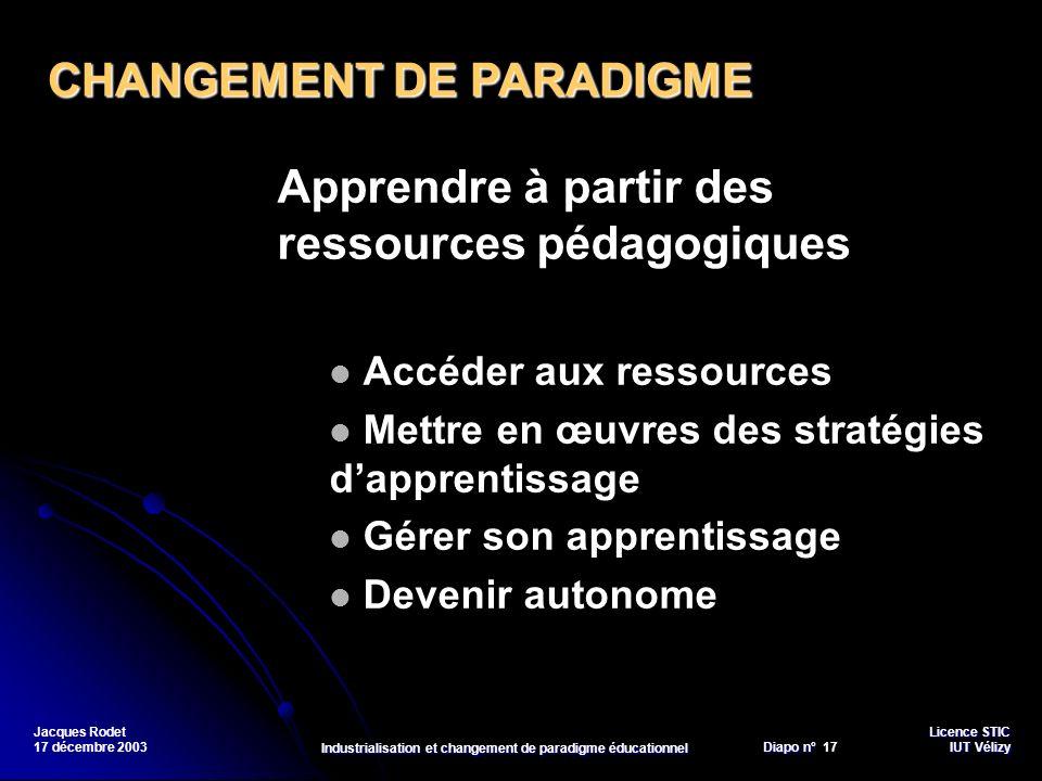 Licence STIC Diapo n°Vélizy Diapo n° 17 IUT Vélizy Jacques Rodet 17 décembre 2003 Industrialisation et changement de paradigme éducationnel Apprendre
