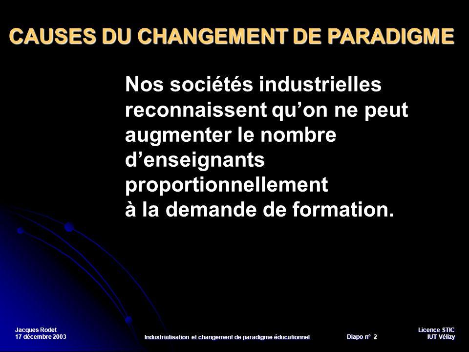 Licence STIC Diapo n°Vélizy Diapo n° 3 IUT Vélizy Jacques Rodet 17 décembre 2003 Industrialisation et changement de paradigme éducationnel Les sociétés réclament une meilleure adaptation de lenseignement au contexte moderne.