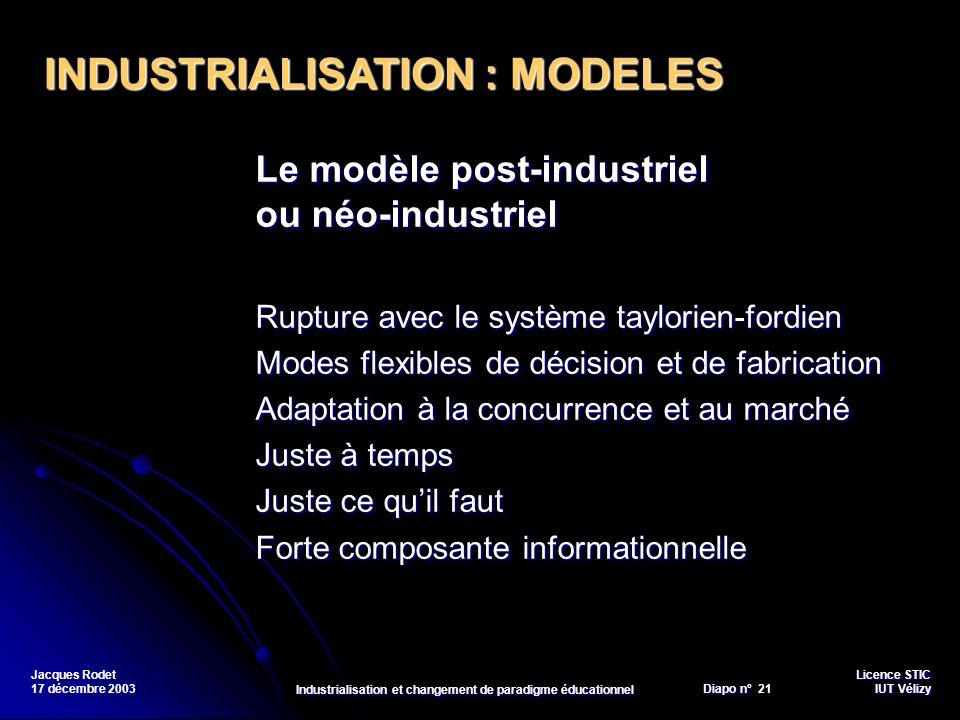 Licence STIC Diapo n°Vélizy Diapo n° 21 IUT Vélizy Jacques Rodet 17 décembre 2003 Industrialisation et changement de paradigme éducationnel Le modèle