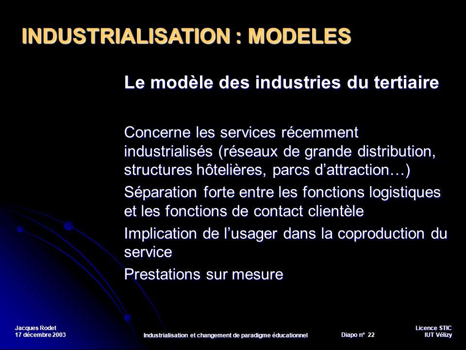 Licence STIC Diapo n°Vélizy Diapo n° 22 IUT Vélizy Jacques Rodet 17 décembre 2003 Industrialisation et changement de paradigme éducationnel Le modèle