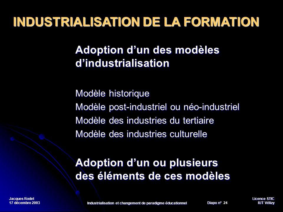 Licence STIC Diapo n°Vélizy Diapo n° 24 IUT Vélizy Jacques Rodet 17 décembre 2003 Industrialisation et changement de paradigme éducationnel Adoption d