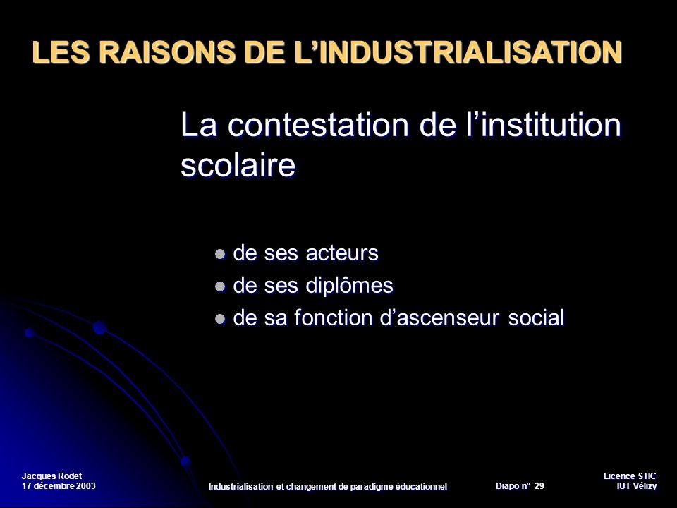 Licence STIC Diapo n°Vélizy Diapo n° 29 IUT Vélizy Jacques Rodet 17 décembre 2003 Industrialisation et changement de paradigme éducationnel La contest