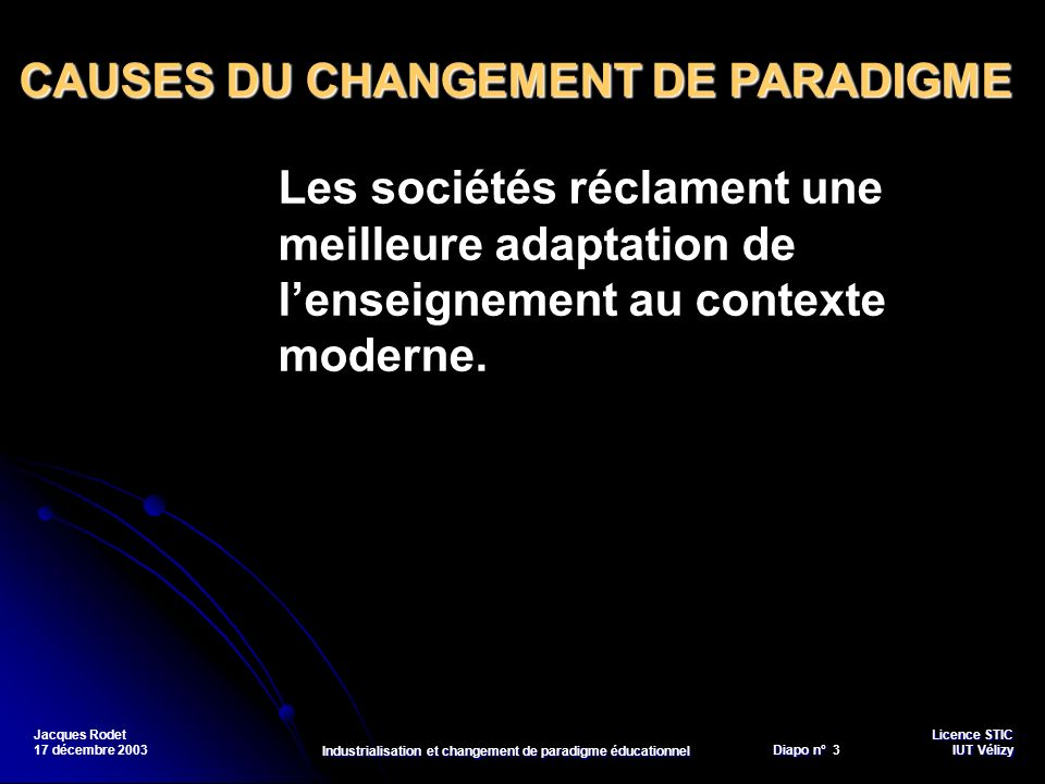 Licence STIC Diapo n°Vélizy Diapo n° 34 IUT Vélizy Jacques Rodet 17 décembre 2003 Industrialisation et changement de paradigme éducationnel Textes >>> Lindustrialisation de la formation Fichez, E.