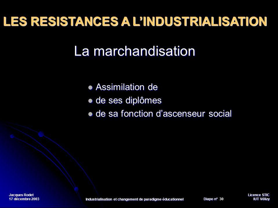 Licence STIC Diapo n°Vélizy Diapo n° 30 IUT Vélizy Jacques Rodet 17 décembre 2003 Industrialisation et changement de paradigme éducationnel La marchan