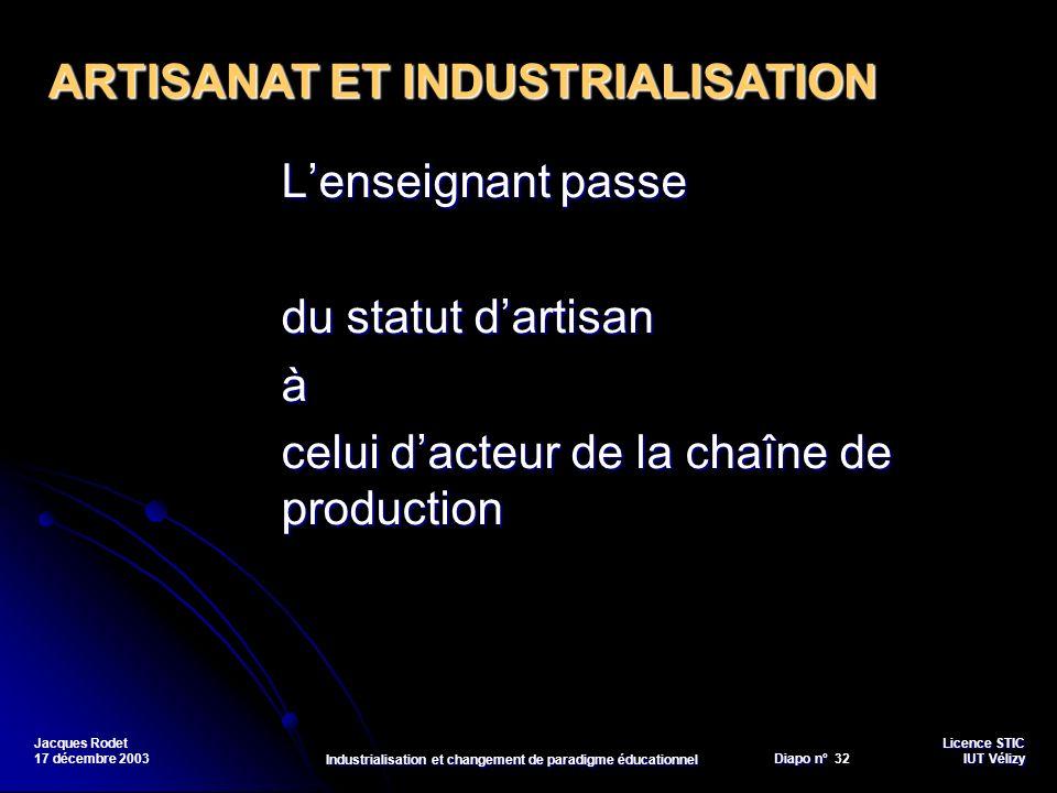 Licence STIC Diapo n°Vélizy Diapo n° 32 IUT Vélizy Jacques Rodet 17 décembre 2003 Industrialisation et changement de paradigme éducationnel Lenseignan