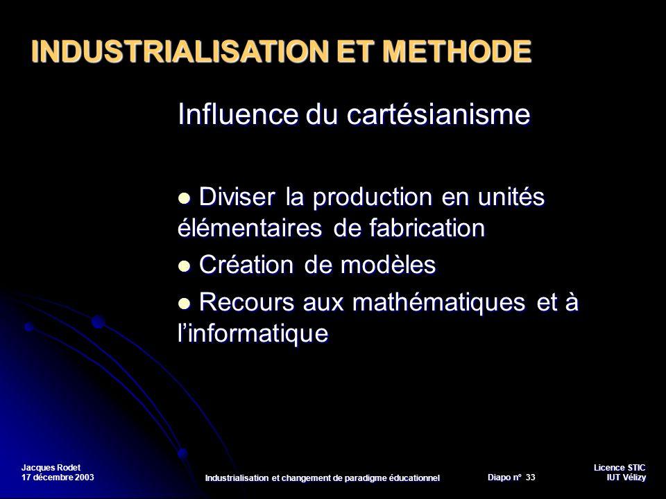 Licence STIC Diapo n°Vélizy Diapo n° 33 IUT Vélizy Jacques Rodet 17 décembre 2003 Industrialisation et changement de paradigme éducationnel Influence