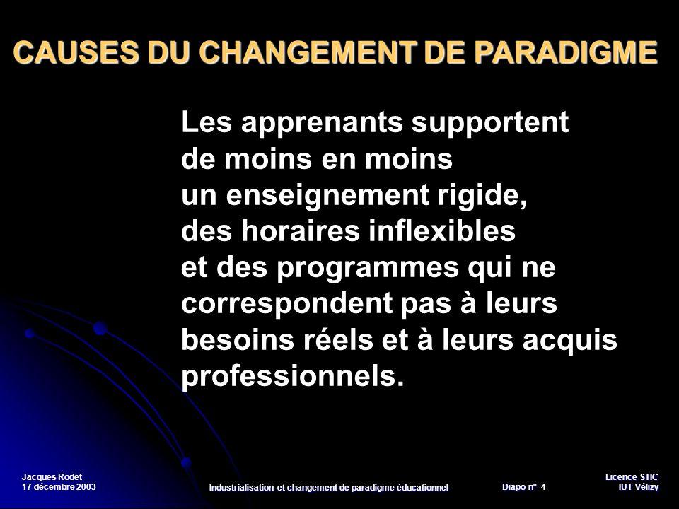 Licence STIC Diapo n°Vélizy Diapo n° 4 IUT Vélizy Jacques Rodet 17 décembre 2003 Industrialisation et changement de paradigme éducationnel Les apprena