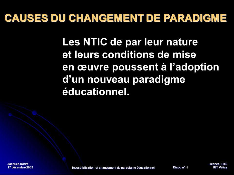 Licence STIC Diapo n°Vélizy Diapo n° 5 IUT Vélizy Jacques Rodet 17 décembre 2003 Industrialisation et changement de paradigme éducationnel Les NTIC de