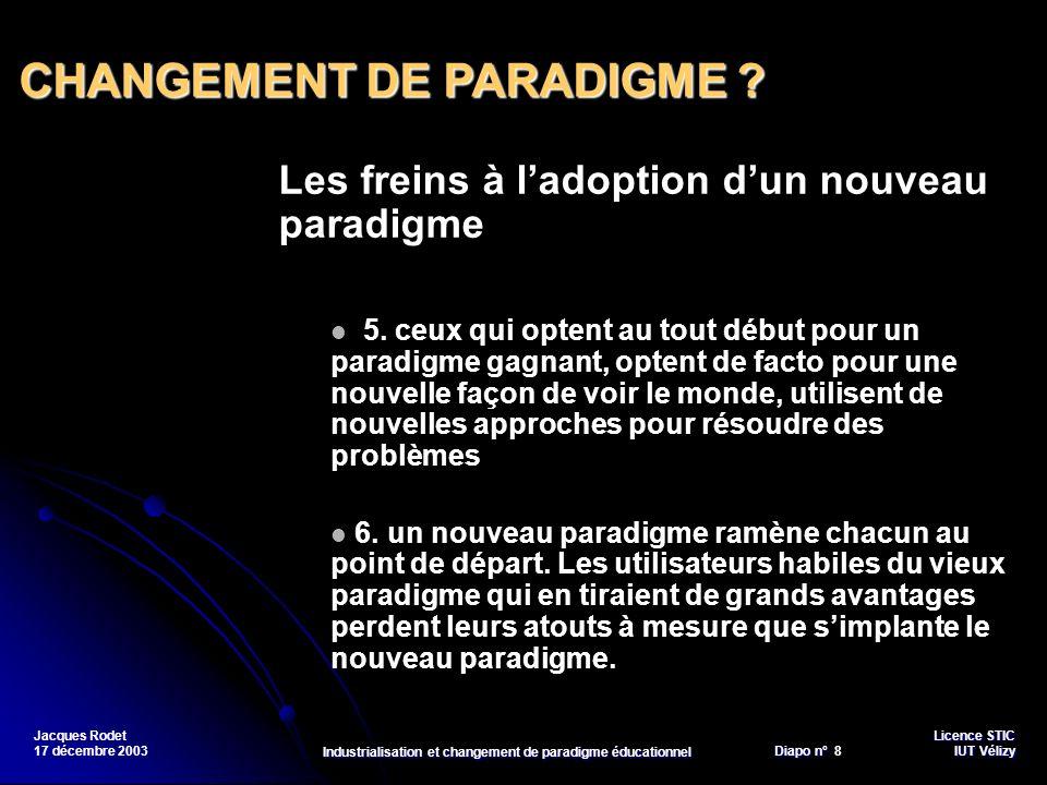 Licence STIC Diapo n°Vélizy Diapo n° 9 IUT Vélizy Jacques Rodet 17 décembre 2003 Industrialisation et changement de paradigme éducationnel En éducation, le changement de paradigme est lié à la mutation du rapport au savoir.
