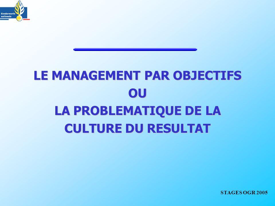 LE MANAGEMENT PAR OBJECTIFS OU LA PROBLEMATIQUE DE LA CULTURE DU RESULTAT STAGES OGR 2005
