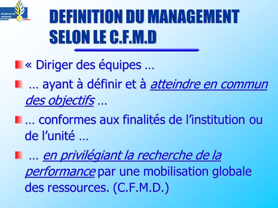 DEFINITION DU MANAGEMENT SELON LE C.F.M.D « Diriger des équipes … … ayant à définir et à atteindre en commun des objectifs … … ayant à définir et à at