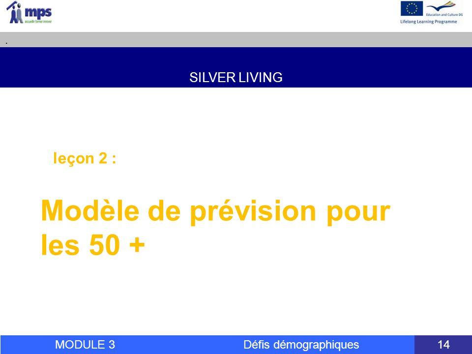 SILVER LIVING. MODULE 3 Défis démographiques 14 leçon 2 : Modèle de prévision pour les 50 +