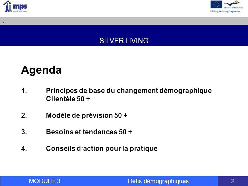 SILVER LIVING. MODULE 3 Défis démographiques 2 Agenda 1.