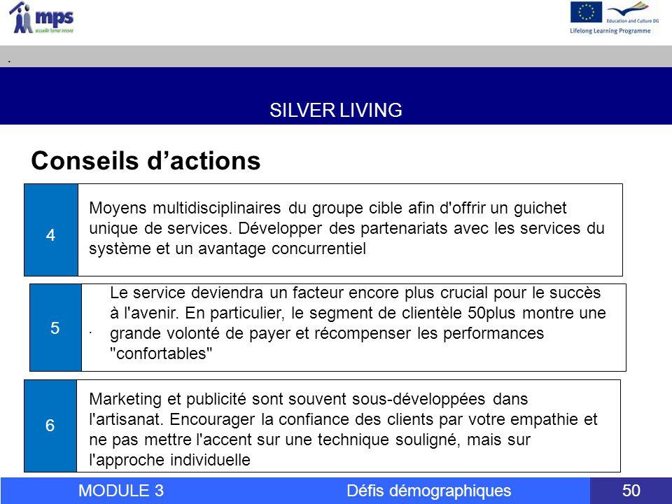 SILVER LIVING. MODULE 3 Défis démographiques 50 Conseils dactions 4.