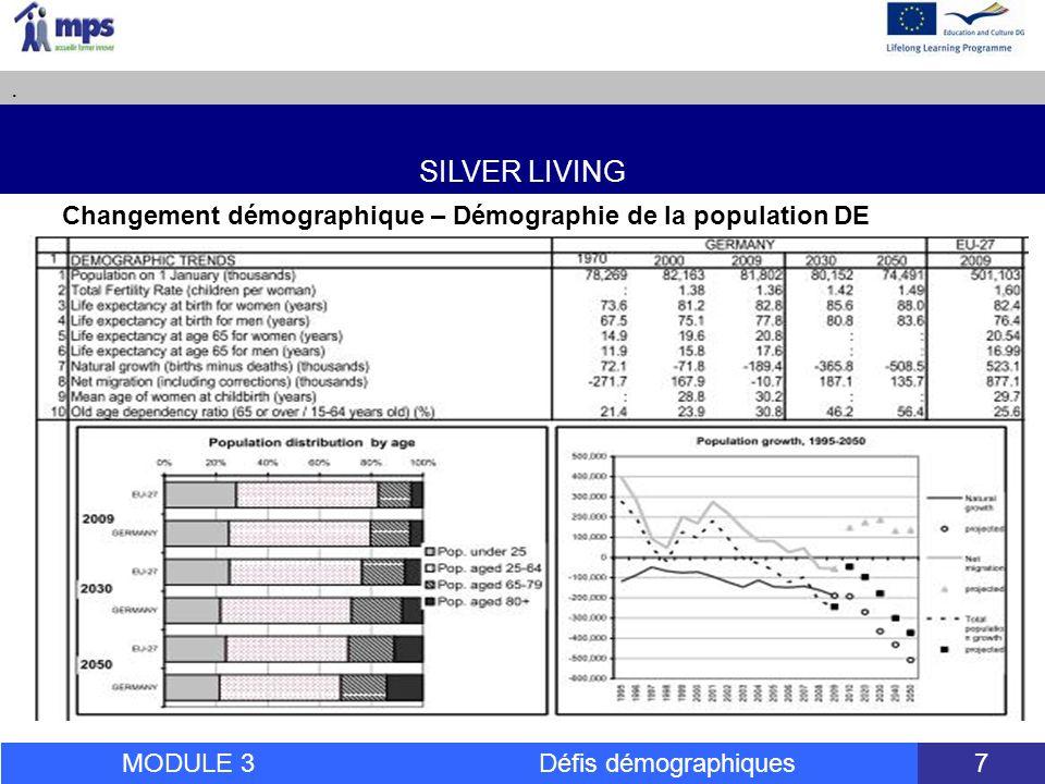 SILVER LIVING. MODULE 3 Défis démographiques 18 leçon 3: Besoins et tendances des 50 +