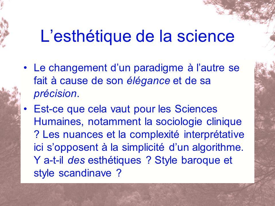 Lesthétique de la science Le changement dun paradigme à lautre se fait à cause de son élégance et de sa précision. Est-ce que cela vaut pour les Scien