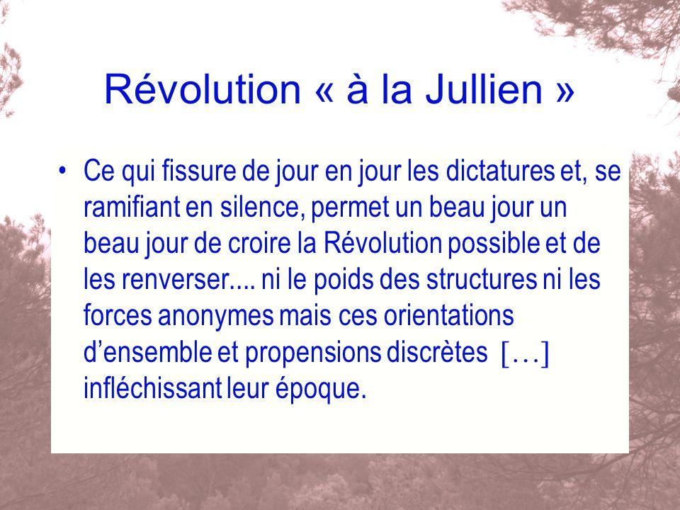 Révolution « à la Jullien » Ce qui fissure de jour en jour les dictatures et, se ramifiant en silence, permet un beau jour un beau jour de croire la R