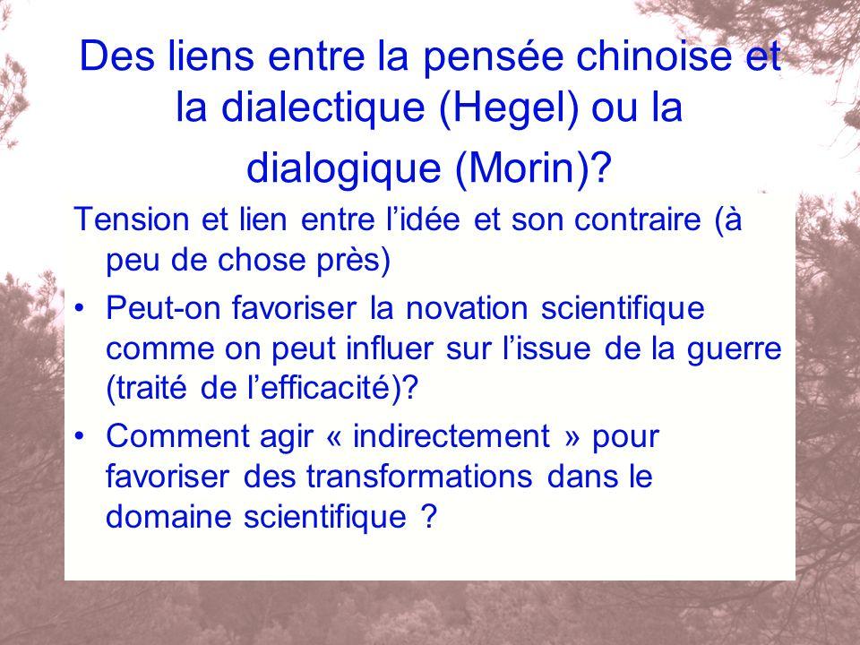 Des liens entre la pensée chinoise et la dialectique (Hegel) ou la dialogique (Morin)? Tension et lien entre lidée et son contraire (à peu de chose pr