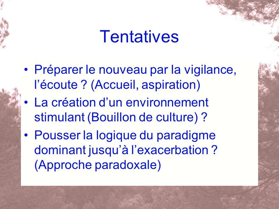Tentatives Préparer le nouveau par la vigilance, lécoute ? (Accueil, aspiration) La création dun environnement stimulant (Bouillon de culture) ? Pouss