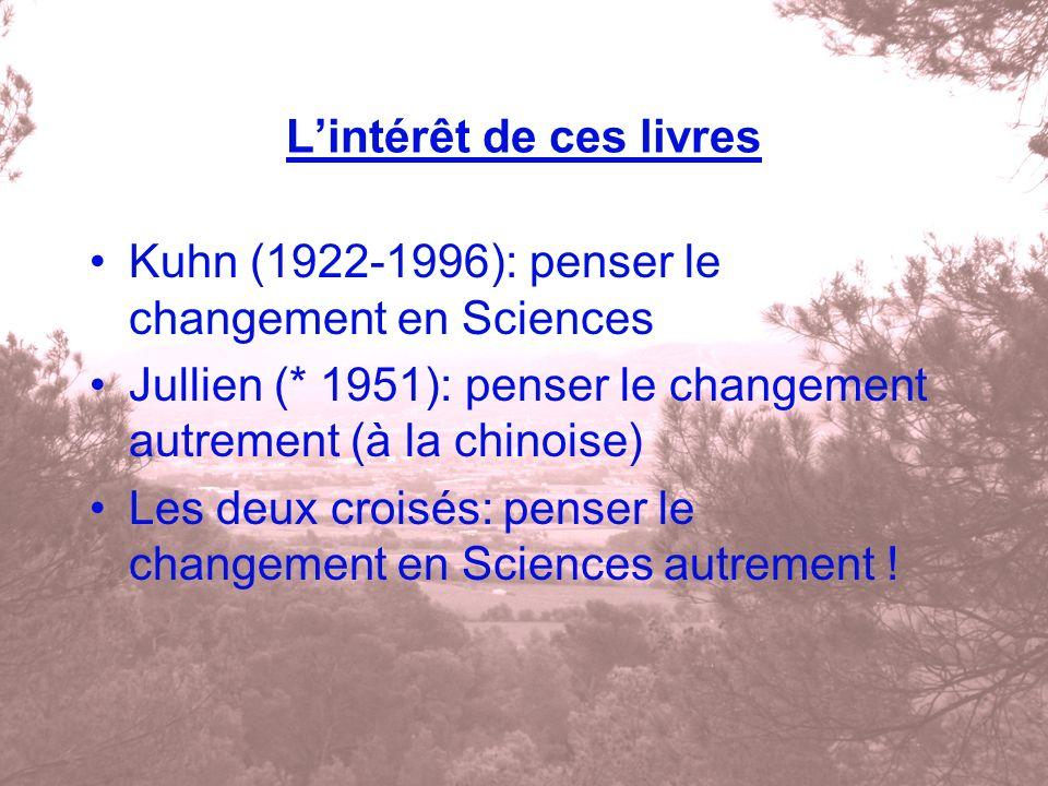 Lintérêt de ces livres Kuhn (1922-1996): penser le changement en Sciences Jullien (* 1951): penser le changement autrement (à la chinoise) Les deux cr
