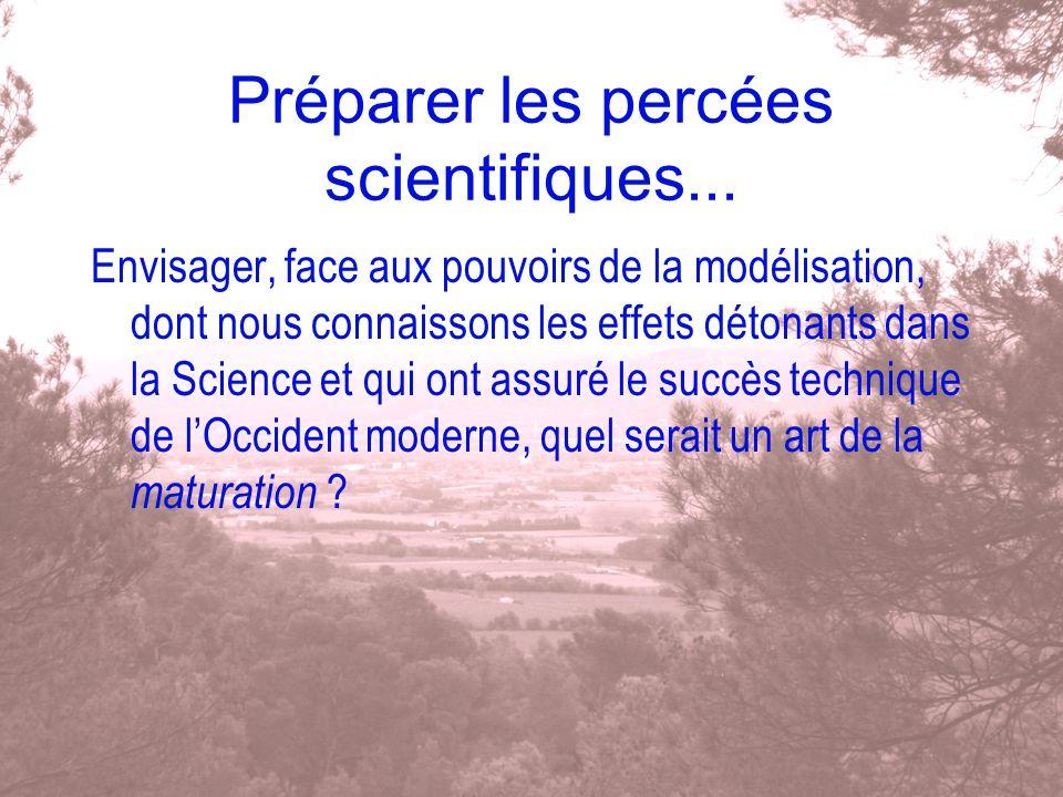 Préparer les percées scientifiques... Envisager, face aux pouvoirs de la modélisation, dont nous connaissons les effets détonants dans la Science et q
