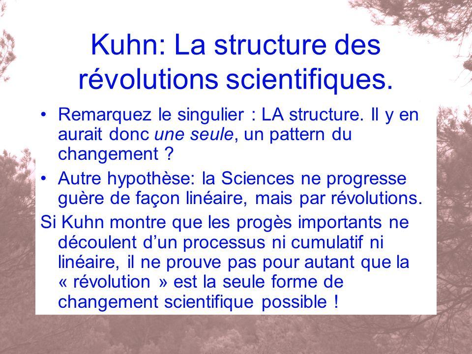 Kuhn: La structure des révolutions scientifiques. Remarquez le singulier : LA structure. Il y en aurait donc une seule, un pattern du changement ? Aut