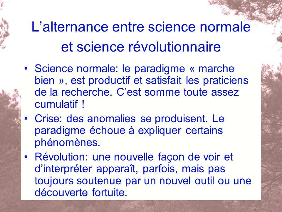 Lalternance entre science normale et science révolutionnaire Science normale: le paradigme « marche bien », est productif et satisfait les praticiens