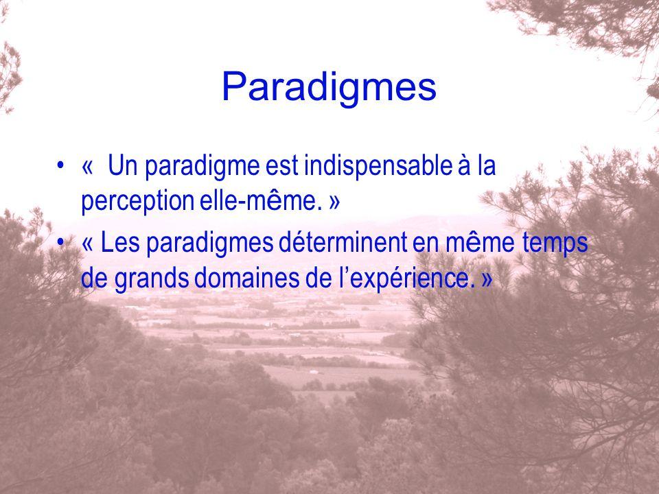 Paradigmes « Un paradigme est indispensable à la perception elle-m ê me. » « Les paradigmes déterminent en m ê me temps de grands domaines de lexpérie