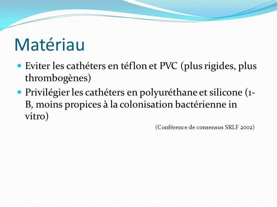 Matériau Eviter les cathéters en téflon et PVC (plus rigides, plus thrombogènes) Privilégier les cathéters en polyuréthane et silicone (1- B, moins pr