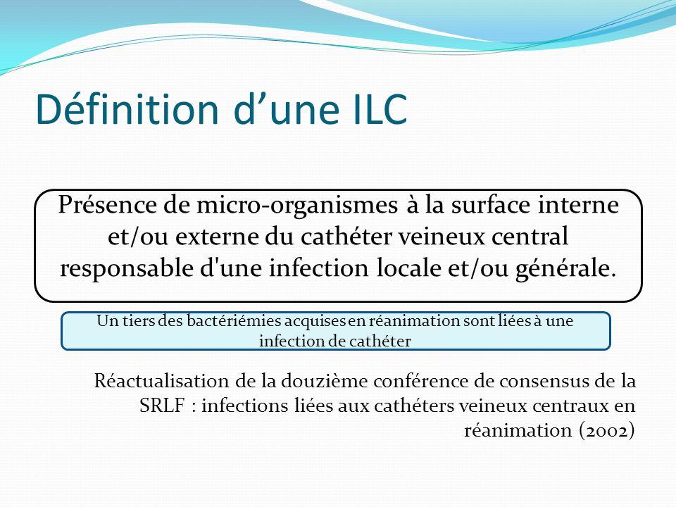Définition dune ILC Réactualisation de la douzième conférence de consensus de la SRLF : infections liées aux cathéters veineux centraux en réanimation