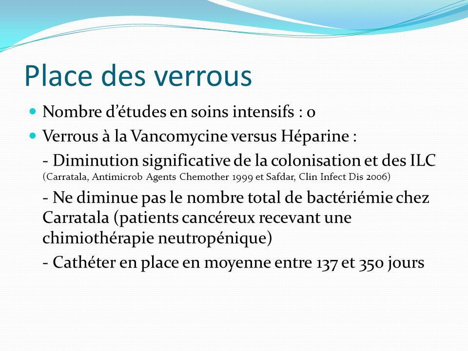 Place des verrous Nombre détudes en soins intensifs : 0 Verrous à la Vancomycine versus Héparine : - Diminution significative de la colonisation et de