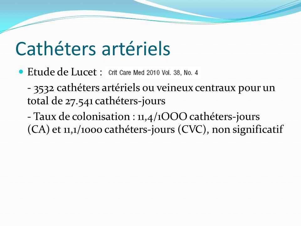 Cathéters artériels Etude de Lucet : - 3532 cathéters artériels ou veineux centraux pour un total de 27.541 cathéters-jours - Taux de colonisation : 1