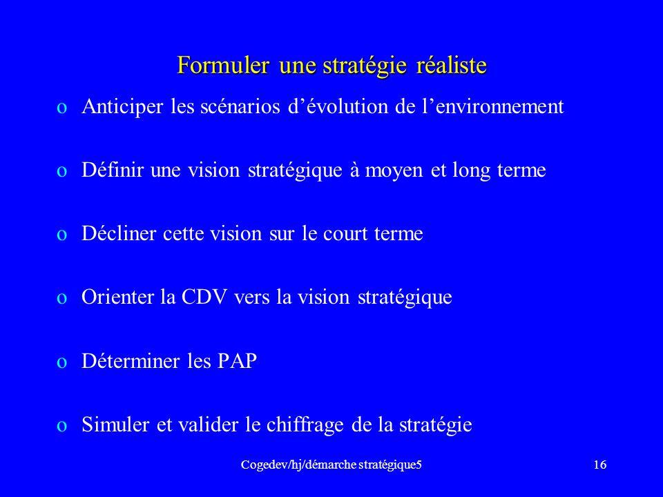 Cogedev/hj/démarche stratégique516 Formuler une stratégie réaliste oAnticiper les scénarios dévolution de lenvironnement oDéfinir une vision stratégiq