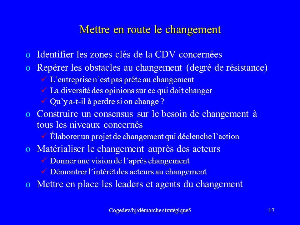 Cogedev/hj/démarche stratégique517 Mettre en route le changement oIdentifier les zones clés de la CDV concernées oRepérer les obstacles au changement
