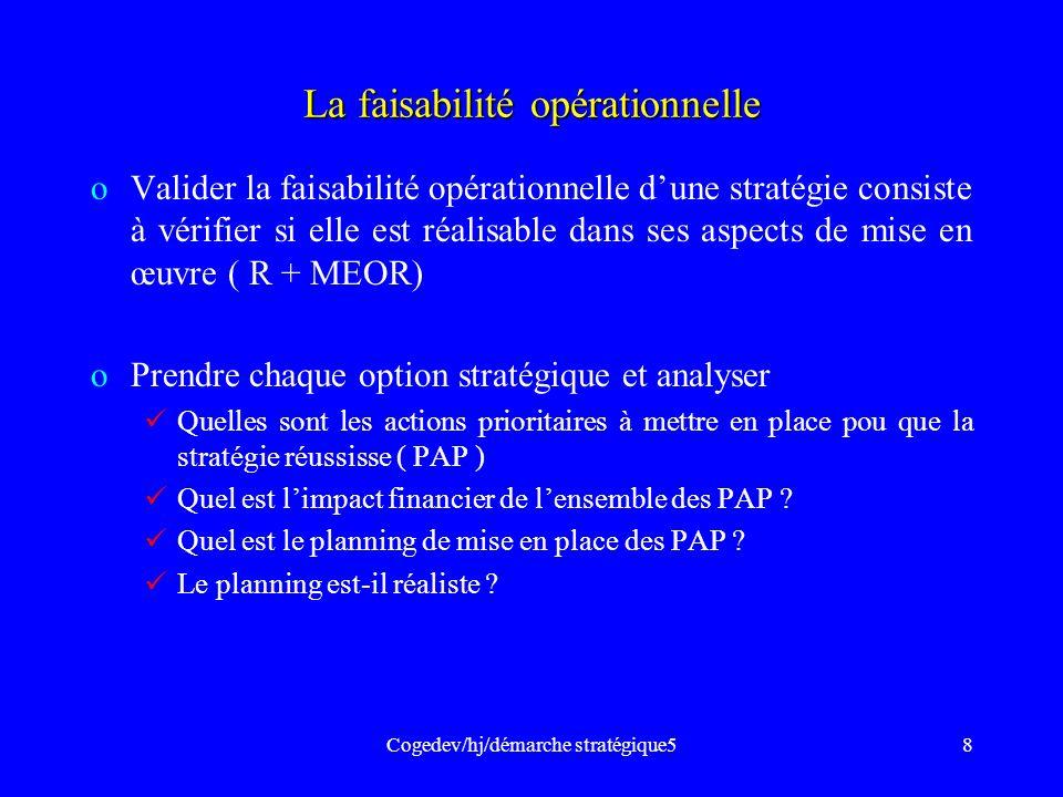 Cogedev/hj/démarche stratégique58 La faisabilité opérationnelle oValider la faisabilité opérationnelle dune stratégie consiste à vérifier si elle est