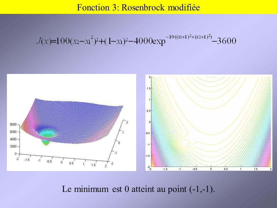 Fonction 3: Rosenbrock modifiée Le minimum est 0 atteint au point (-1,-1).