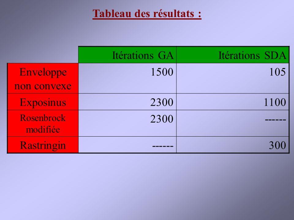 Itérations GA Itérations SDA Enveloppe non convexe 1500105 Exposinus23001100 Rosenbrock modifiée 2300------ Rastringin------300 Tableau des résultats :