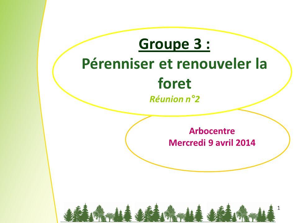 1 Groupe 3 : Pérenniser et renouveler la foret Réunion n°2 Arbocentre Mercredi 9 avril 2014