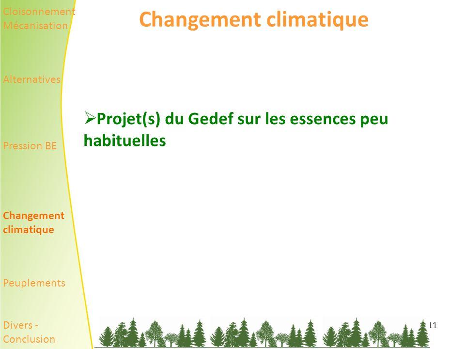 11 Changement climatique Projet(s) du Gedef sur les essences peu habituelles Cloisonnement Mécanisation Alternatives Pression BE Changement climatique Peuplements Divers - Conclusion