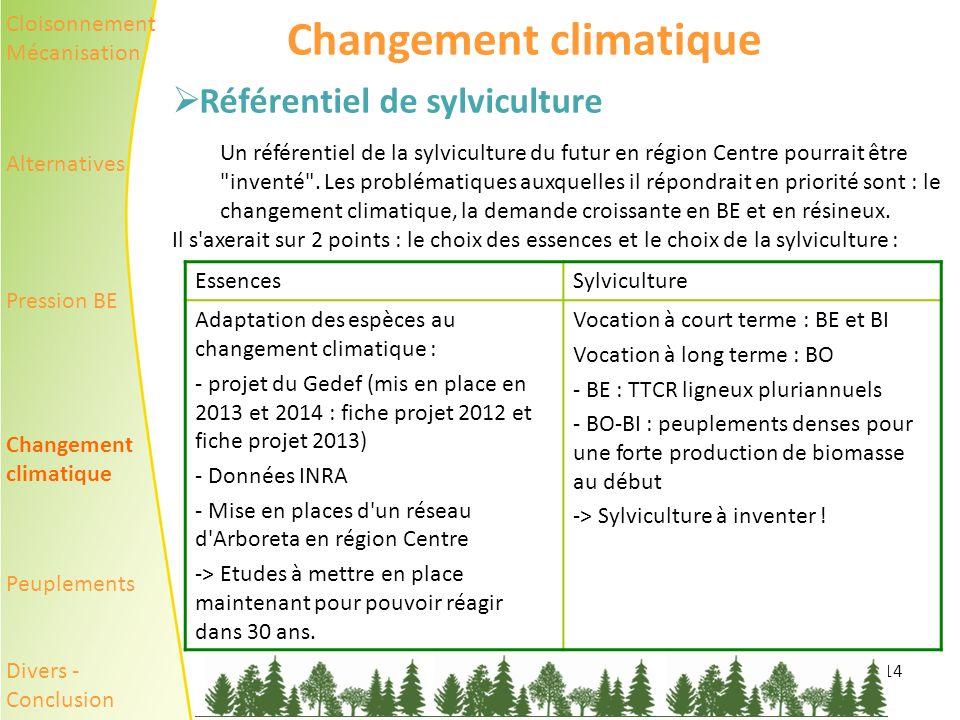 14 Changement climatique Référentiel de sylviculture Un référentiel de la sylviculture du futur en région Centre pourrait être inventé .