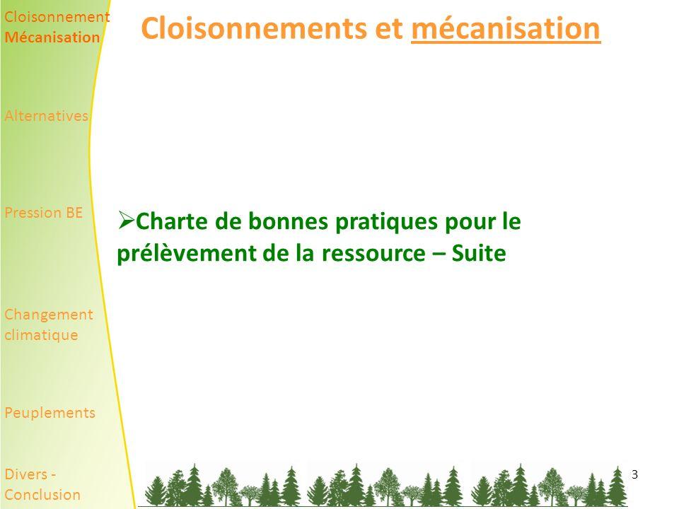 3 Cloisonnements et mécanisation Charte de bonnes pratiques pour le prélèvement de la ressource – Suite Cloisonnement Mécanisation Alternatives Pression BE Changement climatique Peuplements Divers - Conclusion