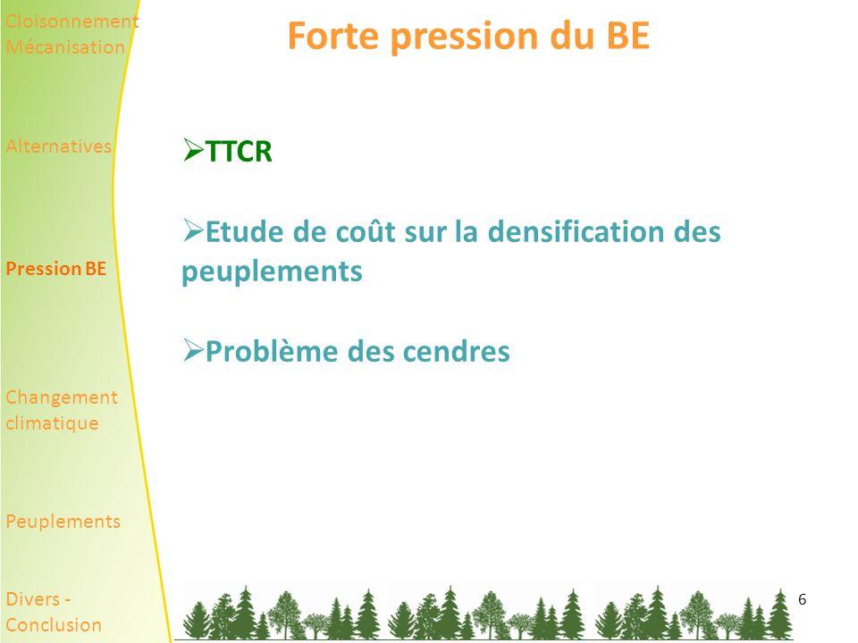 6 Forte pression du BE TTCR Etude de coût sur la densification des peuplements Problème des cendres Cloisonnement Mécanisation Alternatives Pression BE Changement climatique Peuplements Divers - Conclusion