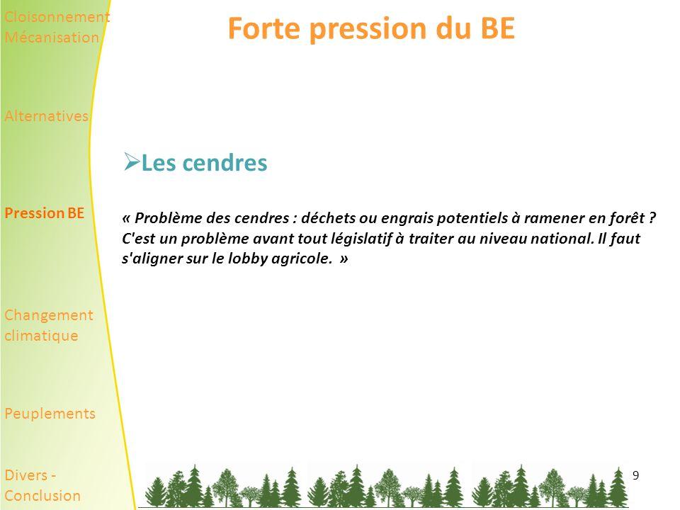 9 Forte pression du BE Les cendres « Problème des cendres : déchets ou engrais potentiels à ramener en forêt .