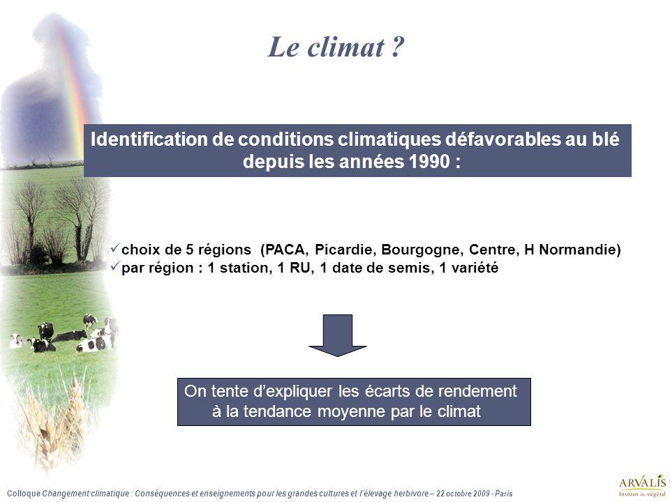 Colloque Changement climatique : Conséquences et enseignements pour les grandes cultures et lélevage herbivore – 22 octobre 2009 - Paris Le climat .