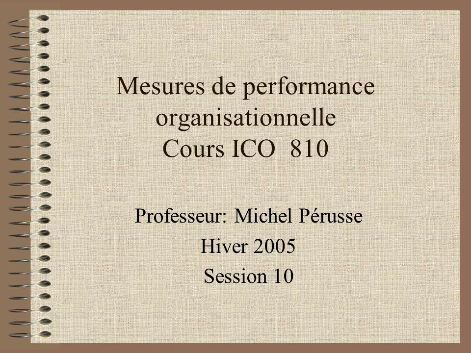 Mesures de performance organisationnelle Cours ICO 810 Professeur: Michel Pérusse Hiver 2005 Session 10