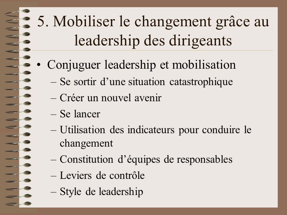 5. Mobiliser le changement grâce au leadership des dirigeants Conjuguer leadership et mobilisation –Se sortir dune situation catastrophique –Créer un