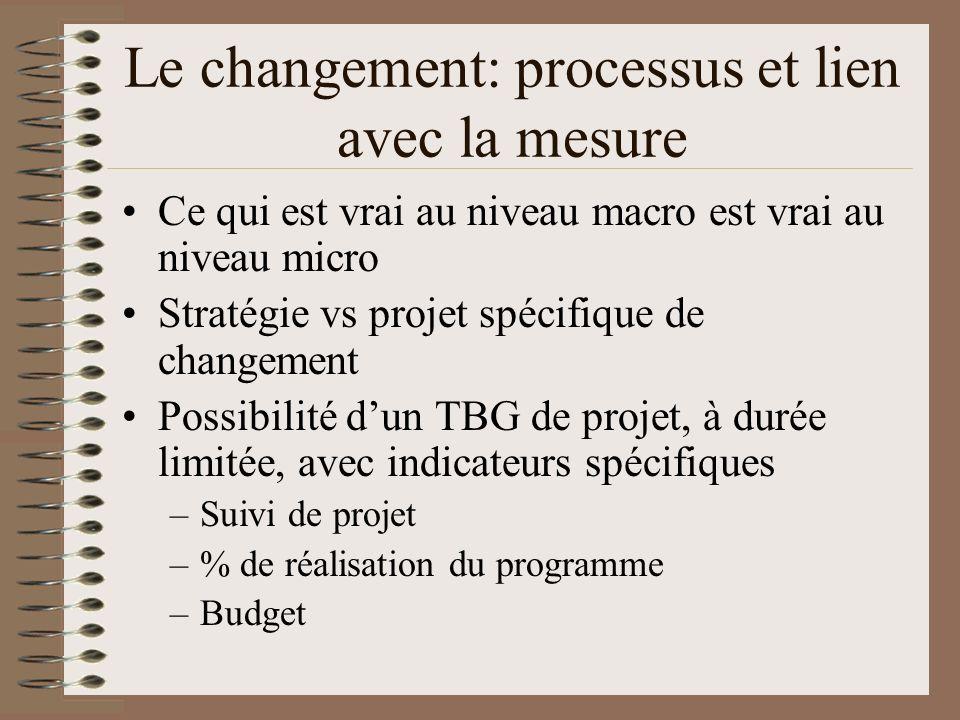 Le changement: processus et lien avec la mesure Ce qui est vrai au niveau macro est vrai au niveau micro Stratégie vs projet spécifique de changement