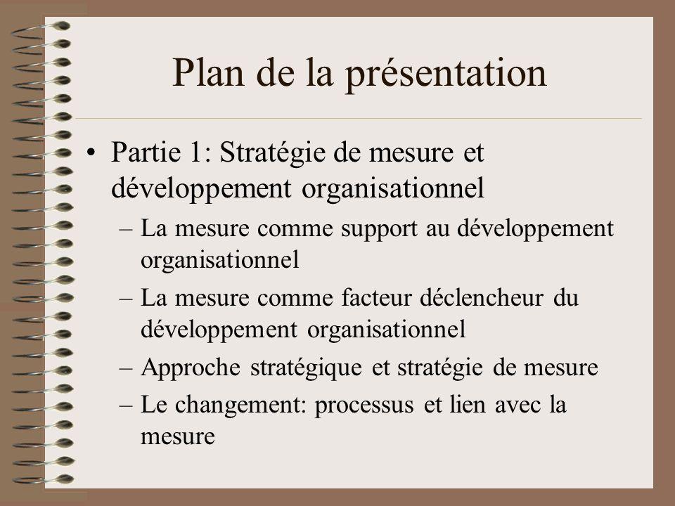 Plan de la présentation Partie 1: Stratégie de mesure et développement organisationnel –La mesure comme support au développement organisationnel –La m